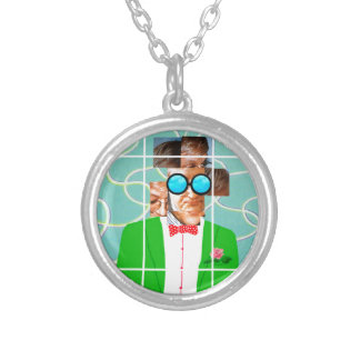 Hockney portrait silver plated necklace