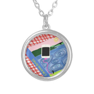 Hockney style silver plated necklace