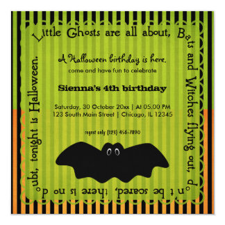 Hocus Pocus Bat Birthday 5.25x5.25 Square Paper Invitation Card