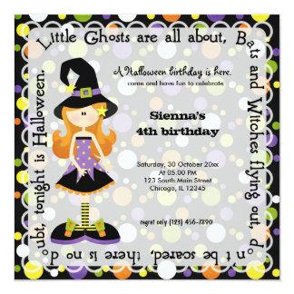 Hocus Pocus Birthday Party 5.25x5.25 Square Paper Invitation Card