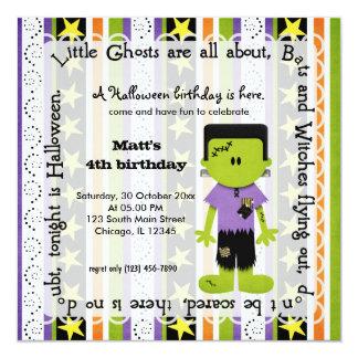 Hocus Pocus Frankenstein Birthday 5.25x5.25 Square Paper Invitation Card