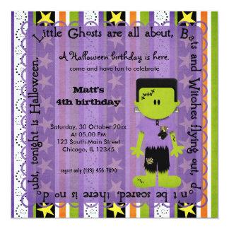 Hocus Pocus Frankenstein Birthday (Purple) 5.25x5.25 Square Paper Invitation Card