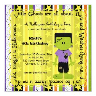 Hocus Pocus Frankenstein Birthday (Yellow) 5.25x5.25 Square Paper Invitation Card