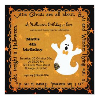 """Hocus Pocus Ghost Birthday 5.25"""" Square Invitation Card"""