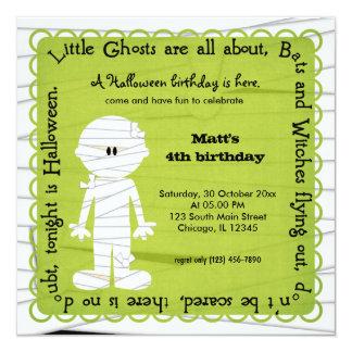 Hocus Pocus Mummy Birthday (Green) 5.25x5.25 Square Paper Invitation Card