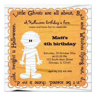 Hocus Pocus Mummy Birthday (Orange) 5.25x5.25 Square Paper Invitation Card