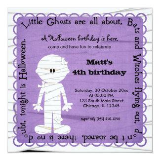 Hocus Pocus Mummy Birthday (Purple) 5.25x5.25 Square Paper Invitation Card