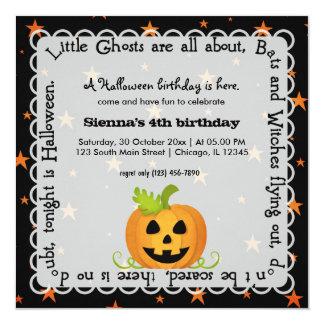 Hocus Pocus Pumpkin Birthday 5.25x5.25 Square Paper Invitation Card