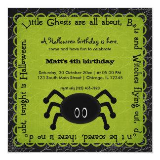Hocus Pocus Spider Birthday (Green) 5.25x5.25 Square Paper Invitation Card