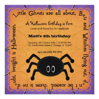 Hocus Pocus Spider Birthday 5.25x5.25 Square Paper Invitation Card