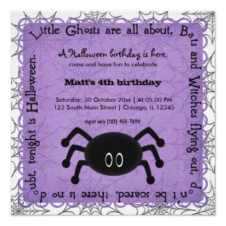 """Hocus Pocus Spider Birthday 5.25"""" Square Invitation Card"""