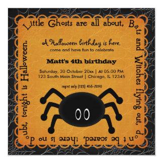 Hocus Pocus Spider Birthday (Orange) 5.25x5.25 Square Paper Invitation Card