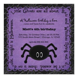 Hocus Pocus Spider Birthday (Purple) 5.25x5.25 Square Paper Invitation Card