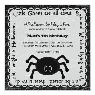 Hocus Pocus Spider Birthday (White) 5.25x5.25 Square Paper Invitation Card