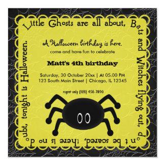 Hocus Pocus Spider Birthday (Yellow) 5.25x5.25 Square Paper Invitation Card