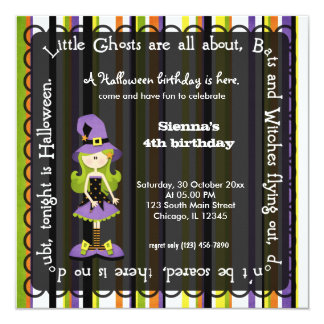 Hocus Pocus Witch Birthday (Black) 5.25x5.25 Square Paper Invitation Card