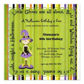 Hocus Pocus Witch Birthday (Green) Custom Announcement