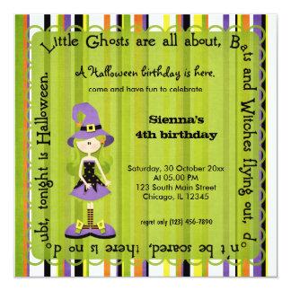 Hocus Pocus Witch Birthday (Green) 5.25x5.25 Square Paper Invitation Card