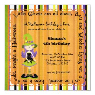 Hocus Pocus Witch Birthday (Orange) 5.25x5.25 Square Paper Invitation Card