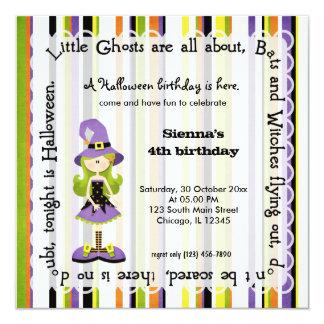Hocus Pocus Witch Birthday (White) 5.25x5.25 Square Paper Invitation Card