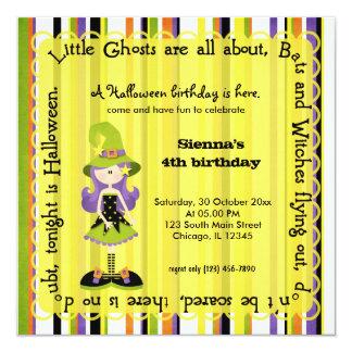 Hocus Pocus Witch Birthday (Yellow) 5.25x5.25 Square Paper Invitation Card