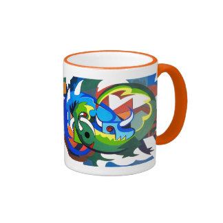 Hodags 8, Fun picasso inspired Hodag modern art Ringer Mug