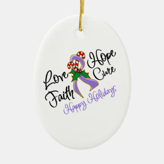 Hodgkin Lymphoma Hope Love Cure Happy Holidays Ceramic Ornament