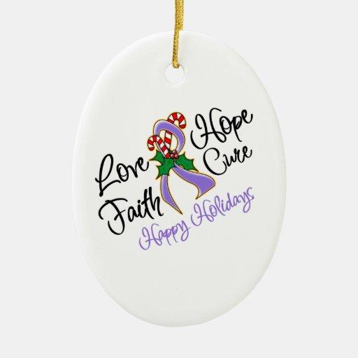 Hodgkin Lymphoma Hope Love Cure Happy Holidays Christmas Tree Ornaments