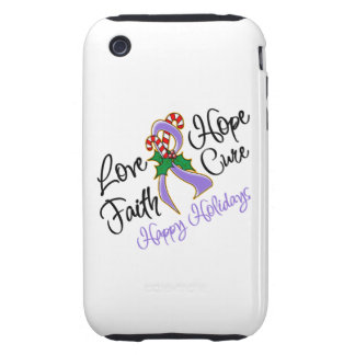 Hodgkin Lymphoma Hope Love Cure Happy Holidays Tough iPhone 3 Cases