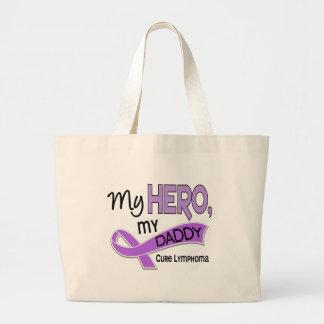 Hodgkin's Lymphoma MY HERO MY DADDY 42 Large Tote Bag