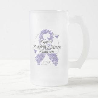 Hodgkin's Disease Ribbon of Butterflies Frosted Glass Beer Mug