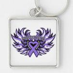 Hodgkin's Lymphoma  Awareness Heart Wings Key Chain