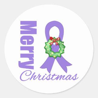 Hodgkins Lymphoma Awareness Merry Christmas Ribbon Classic Round Sticker