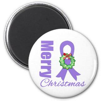 Hodgkins Lymphoma Awareness Merry Christmas Ribbon Refrigerator Magnets