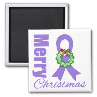Hodgkins Lymphoma Awareness Merry Christmas Ribbon Fridge Magnet