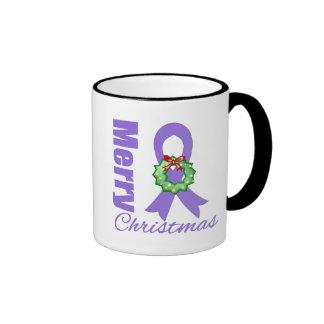 Hodgkins Lymphoma Awareness Merry Christmas Ribbon Mugs