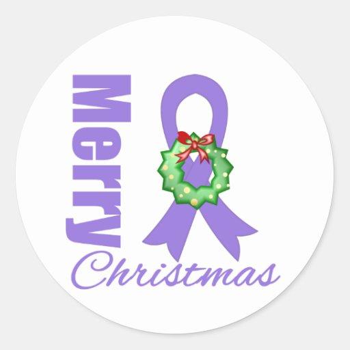 Hodgkins Lymphoma Awareness Merry Christmas Ribbon Stickers