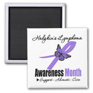 Hodgkins Lymphoma Awareness Month Ribbon Butterfly Magnets