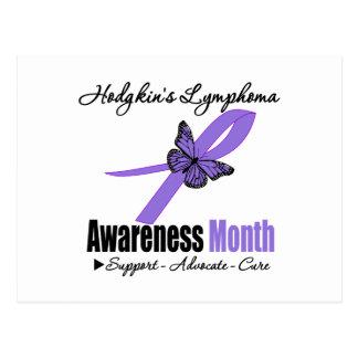 Hodgkins Lymphoma Awareness Month Ribbon Butterfly Postcard