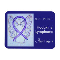 Hodgkins Lymphoma Awareness Ribbon Angel Magnet