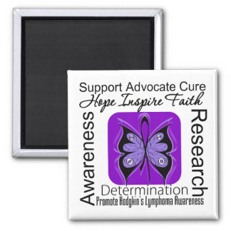 Hodgkins Lymphoma Butterfly Inspirations 2 Inch Square Magnet