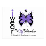 Hodgkins Lymphoma Butterfly Ribbon FATHER in LAW Postcard