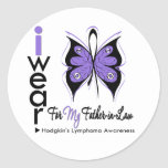 Hodgkins Lymphoma Butterfly Ribbon FATHER in LAW Stickers
