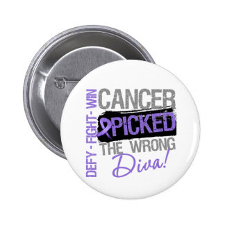 Hodgkins Lymphoma Cancer Picked The Wrong Diva 2 Inch Round Button