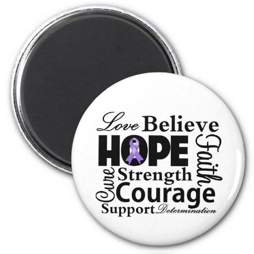 Hodgkins Lymphoma Collage of Hope Fridge Magnets