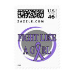 Hodgkins Lymphoma Fight Like A Girl Circular Postage Stamps