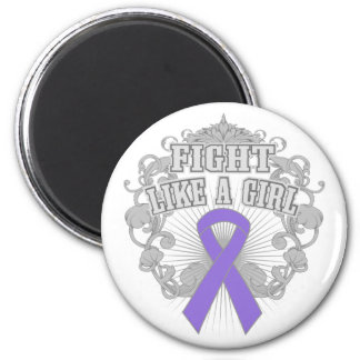 Hodgkins Lymphoma Fight Like A Girl Fleurish 2 Inch Round Magnet