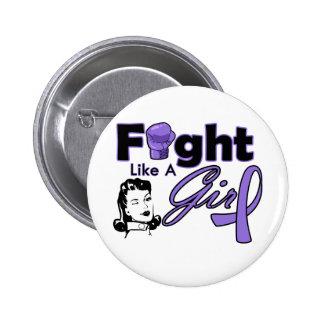 Hodgkin's Lymphoma Fight Like A Girl - Retro Girl Pinback Buttons