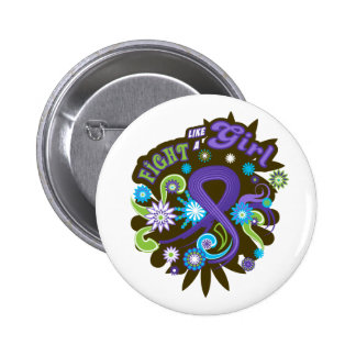 Hodgkin's Lymphoma Groovy Fight Like A Girl Pinback Buttons