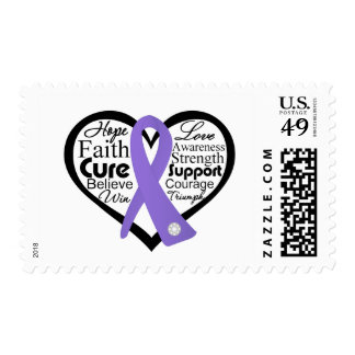 Hodgkin's Lymphoma Heart Ribbon Collage Postage